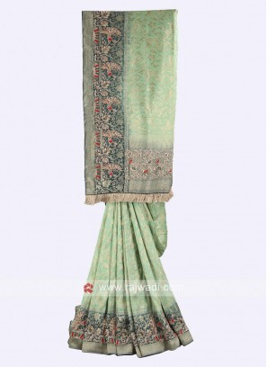 Pista green and dark cyan color banasari silk saree