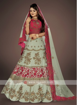 Pista green and gajari pink lehenga choli suit