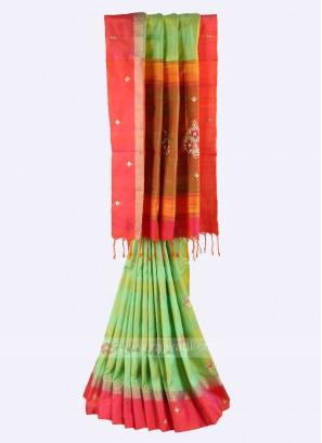 Pista green and gajari pink pure silk saree