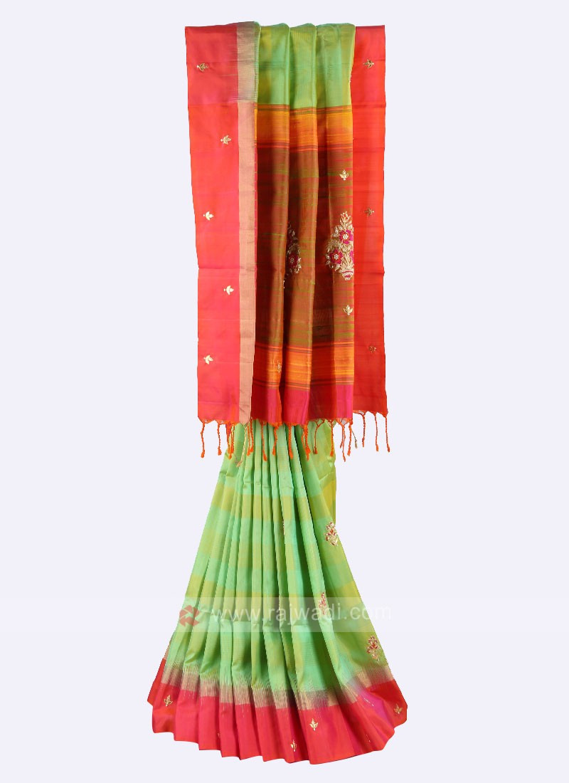 Pista green and gajari pink pure silk saree
