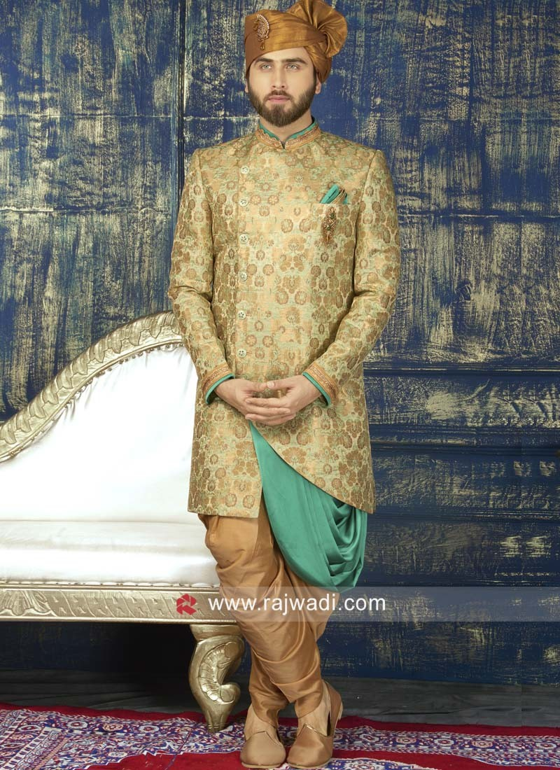 Pista Green and Golden Color Indo Western