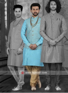 Stylish Sky Blue Nehru Jacket