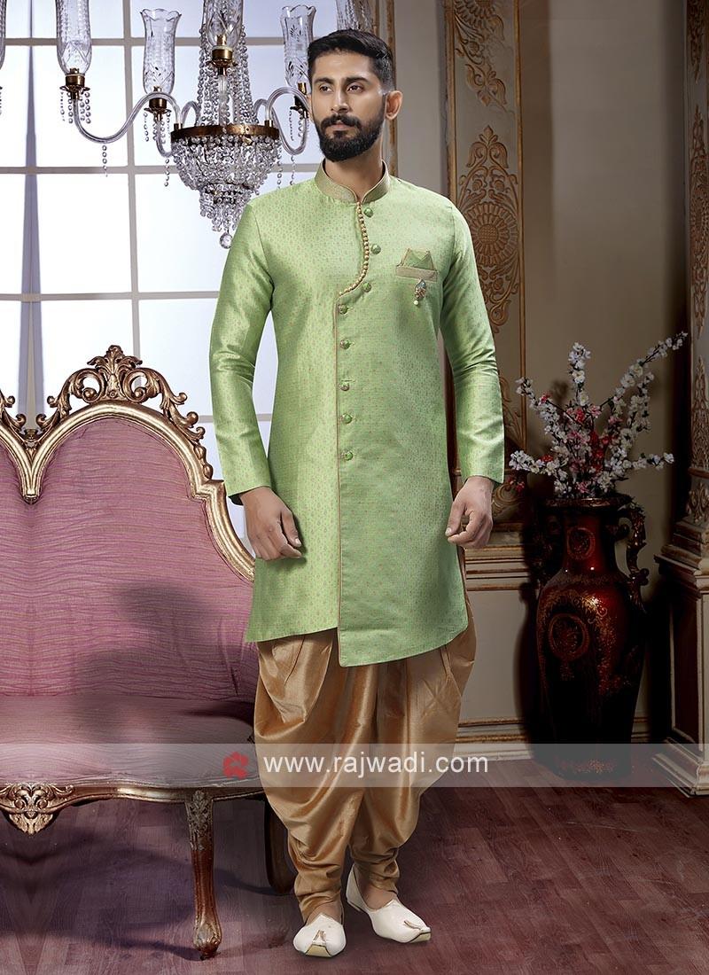 Pista Green And Golden Patiala Suit