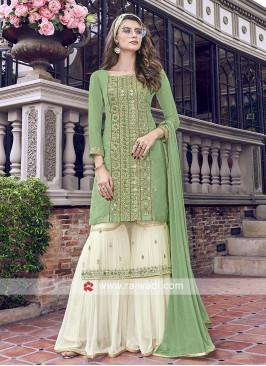 Pista green and off white gharara suit