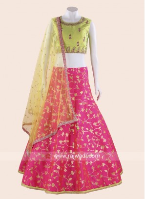 Pista Green and Pink Printed Choli Suit