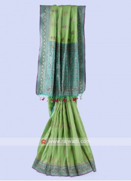 Pista Green And Turquoise Banarasi Silk Saree