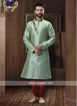 Pista Green And Red Kurta Pajama