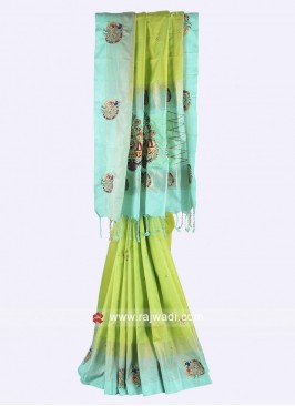 Pista green and sky blue color pure silk saree