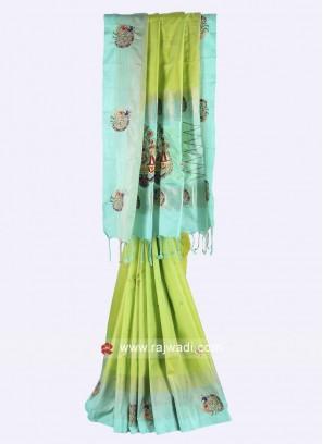 Pista green and sky blue color pure silk saree