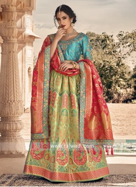 Pista green and sky blue lehenga choli