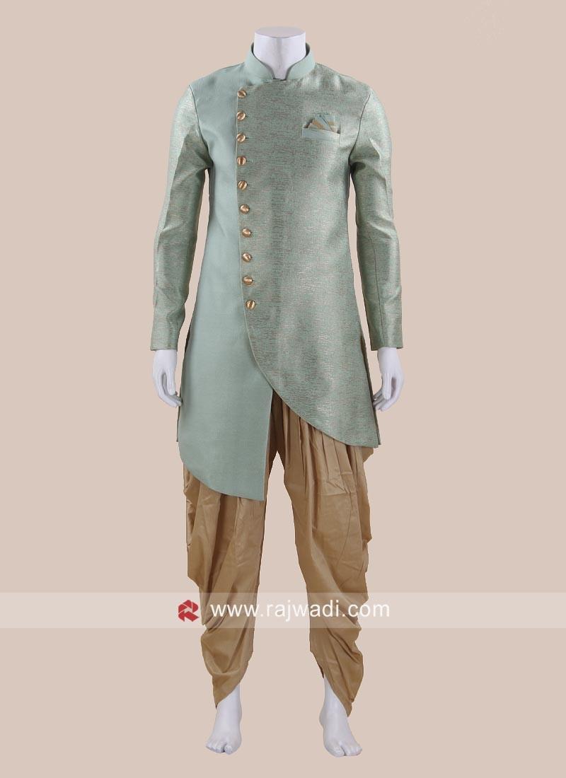 Pista Green Art Silk Fabric Patiala Set