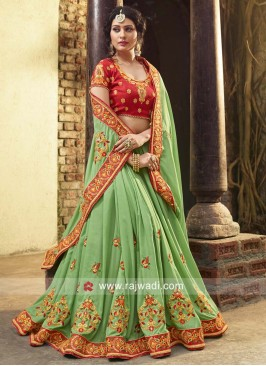 Pista Green Art Silk Heavy Saree
