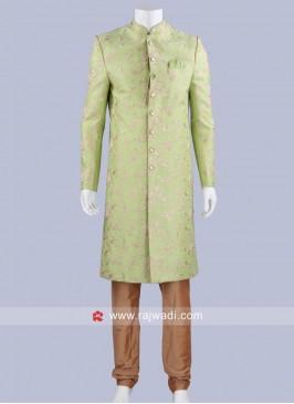 Pista Green Art Silk Indo Western Sherwani