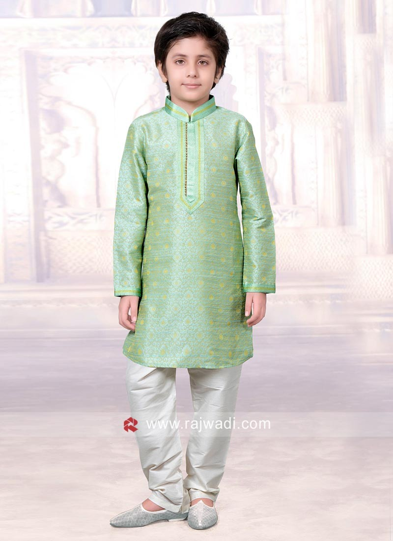 Pista Green Art Silk Kurta Pajama
