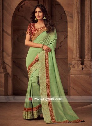 Pista Green Art Silk Saree