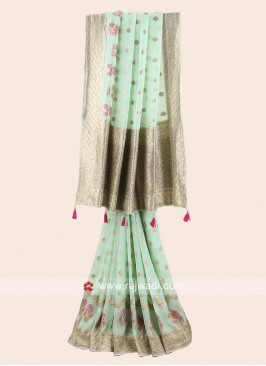 Pista Green Banarasi Chiffon Saree