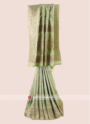 Pista Green Banarasi Silk Saree