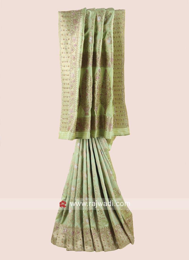 Pista Green Banarasi Silk Saree