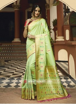 Pista Green Banarasi Silk Wedding Saree