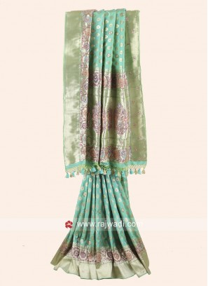 Pista Green Banarasi Silk Saree with Border