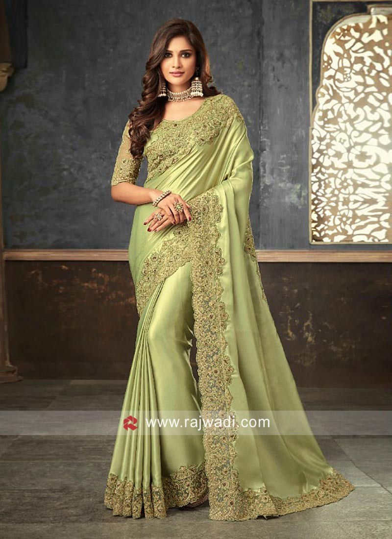 Pista Green Border Work Saree
