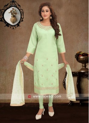 Pista Green Casual Churidar Suit