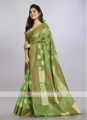Pista green casual saree