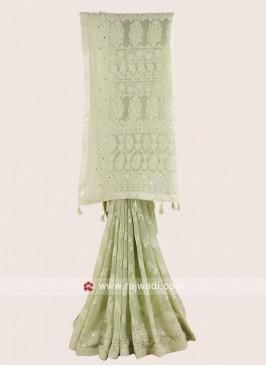 Pista Green Chiffon Designer Saree
