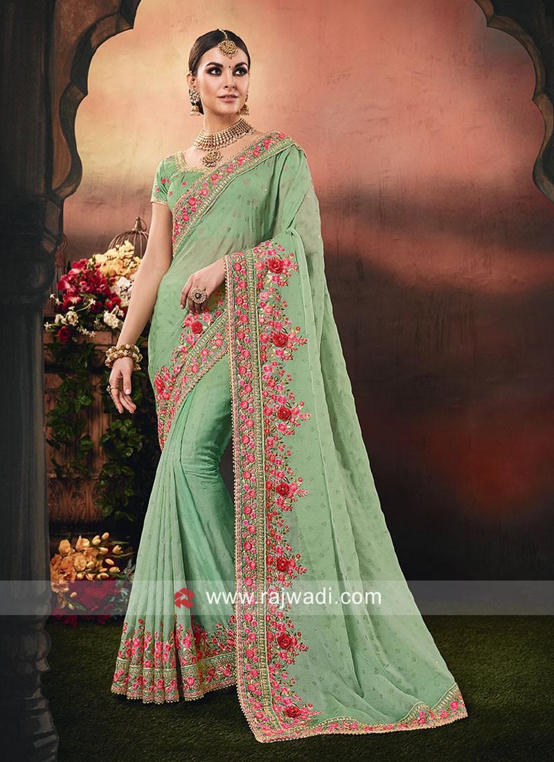 Pista Green Chiffon Saree