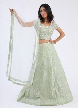 Pista Green Choli Suit With Dupatta