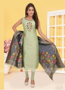 Pista Green Churidar Suit with Designer Dupatta