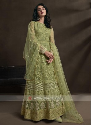 pista green color anarkali suit