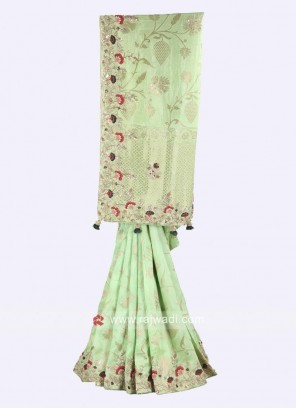 Pista green color banarasi silk saree