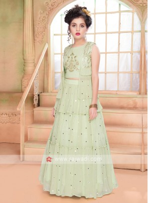 Pista Green Color Choli Suit
