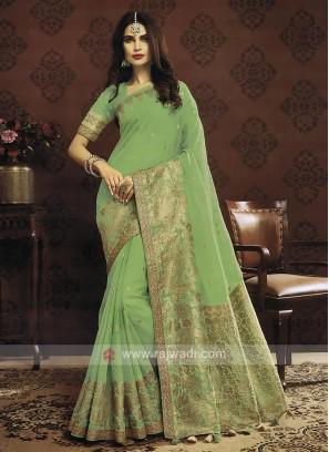 Pista Green Color Cotton Silk Saree