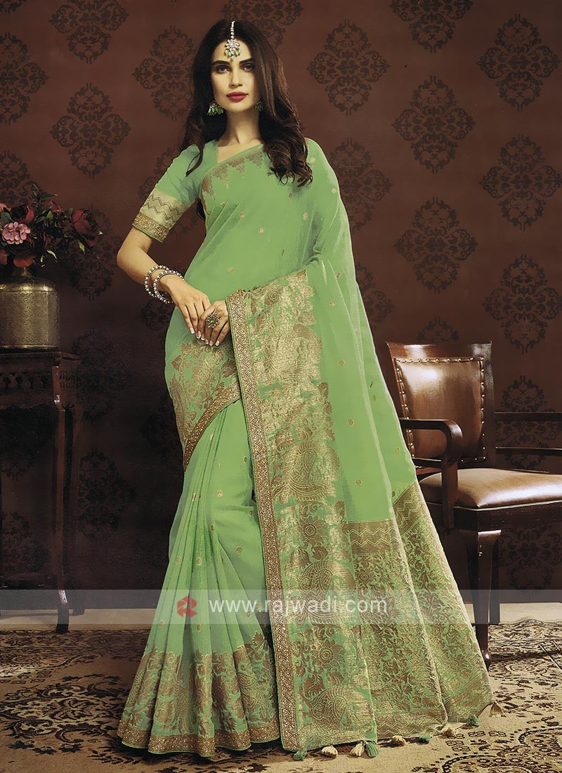 Pista Green Color Cotton Silk Saree