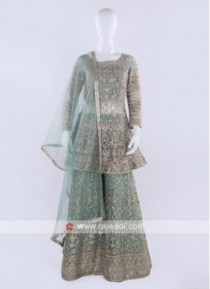 Pista green color Gharara Suit with dupatta