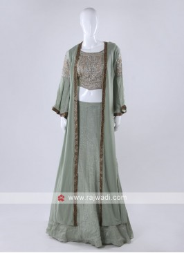 Pista green color indowesten style choli suit