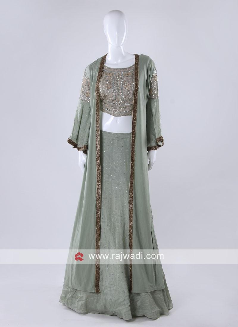 Pista green color indowesten style choli suit