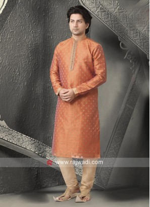 Pleasing Orange Kurta With Churidar
