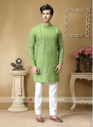 Pista Green Color Kurta Set