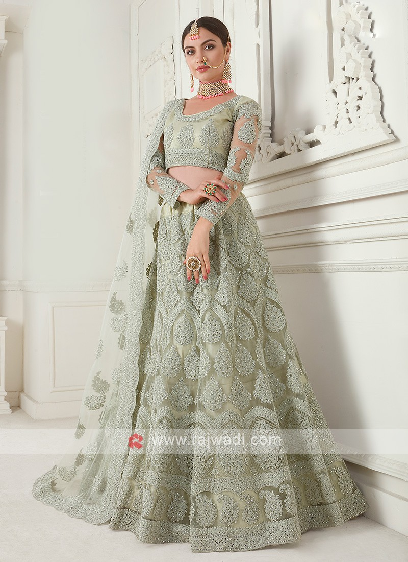 pista green color lehenga choli