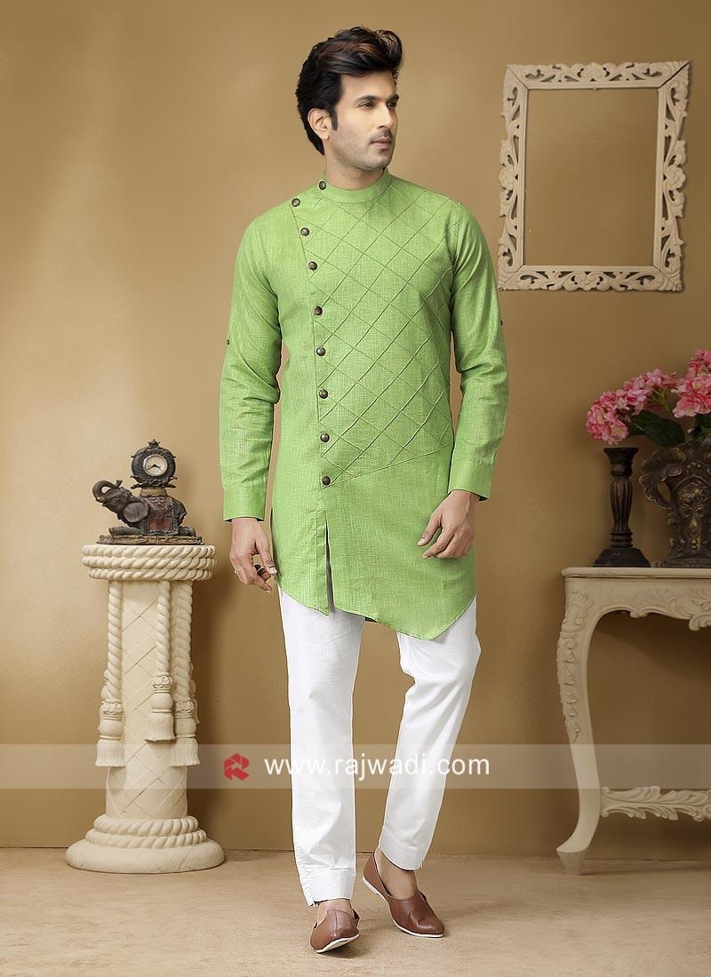 Pista Green Color Linen Pathani Set