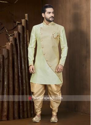 Pista Green Color Patiala Suit For Mens