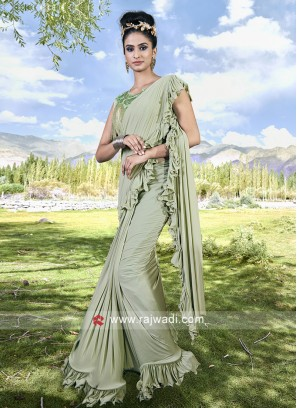 Pista Green Color Ruffle Saree