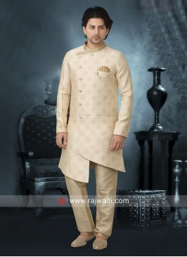 Stylish Cream Color Indo Western For Wedding