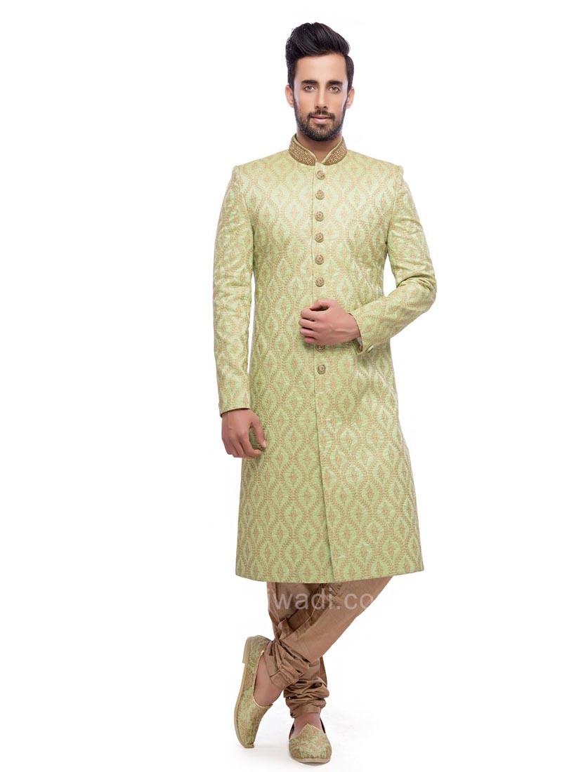 Pista Green Color Sherwani