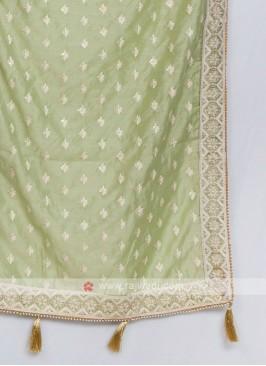 Pista Green Color Silk Dupatta