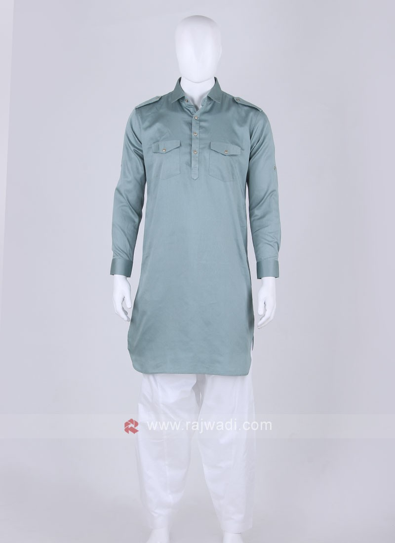 Cadet Blue color Solid Pathani Suit