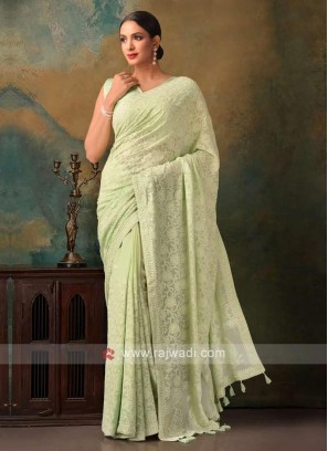pista green color viscose chikankari saree